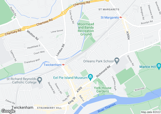 Map for Amyand Park Road, Twickenham, TW1