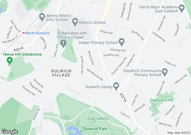 Map for Beauval Road, East Dulwich, London, SE22