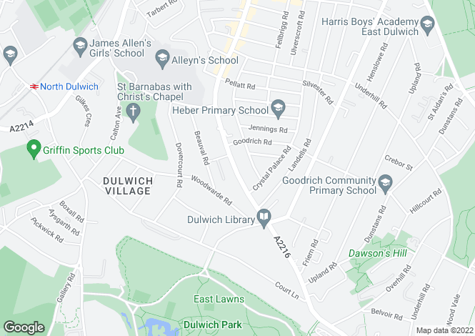 Map for Lordship Lane, Dulwich, London