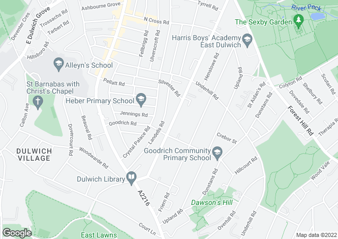 Map for Barry Road, East Dulwich