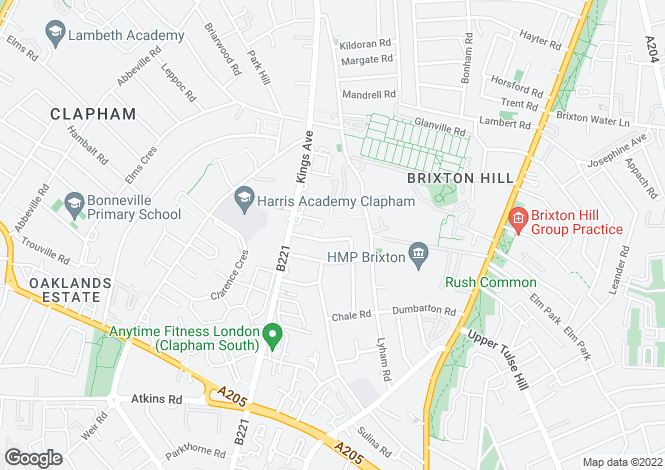 Map for Rosebery Road   Clapham Park London