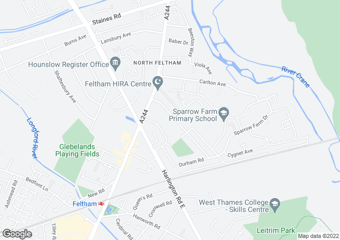Map for The Drive, Feltham, Middlesex, TW14