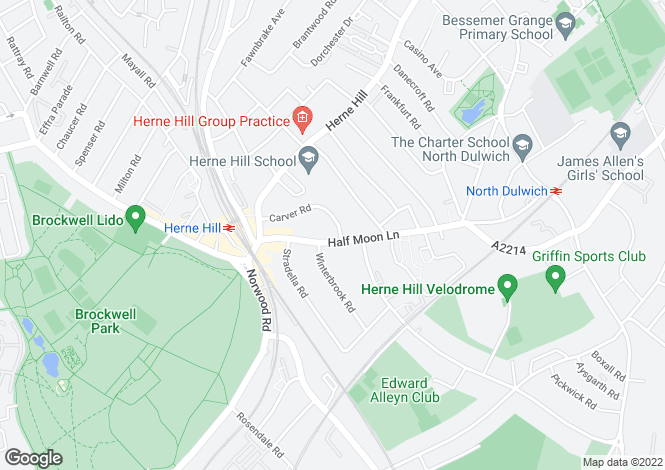Map for Half Moon Lane, Herne Hill