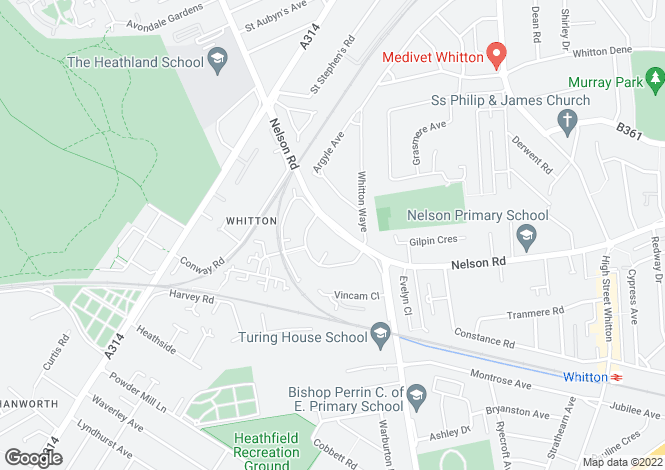 Map for Nelson Road, Whitton