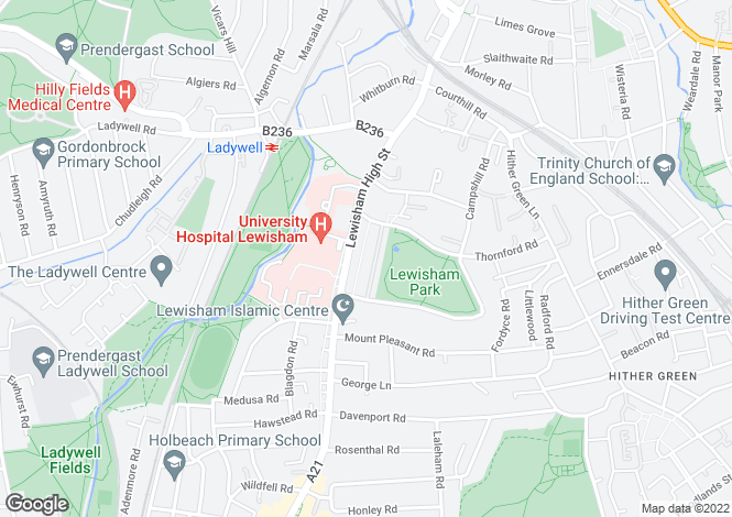 Map for Bredgar, Lewisham Park, Lewisham, SE13