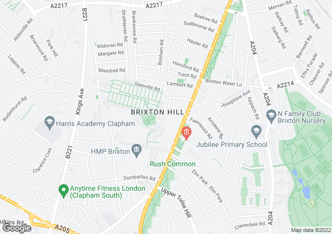 Map for Blenheim Gardens, Brixton, SW2