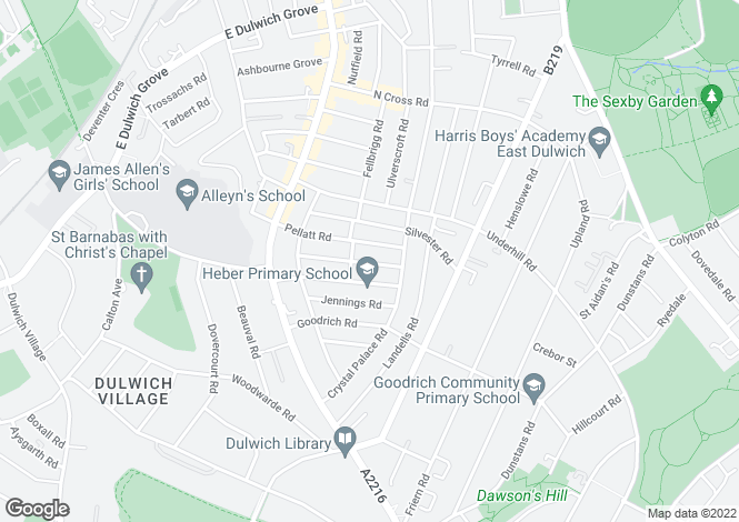 Map for Rodwell Road, East Dulwich, SE22