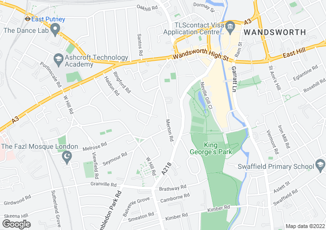 Map for Merton Road, Wandsworth, SW18