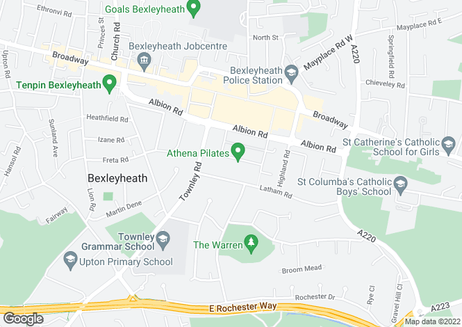 Map for Warren Road, Bexleyheath