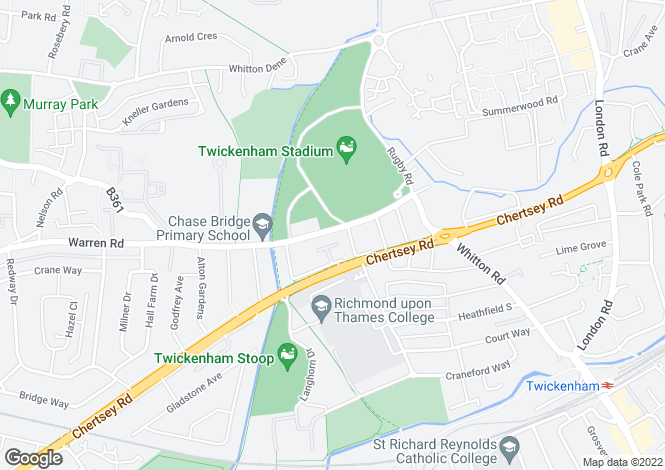 Map for Whitton Road, Twickenham, TW2