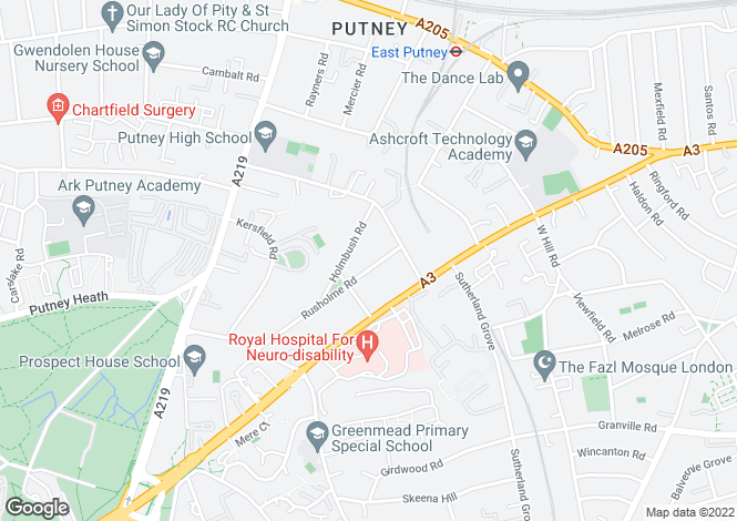 Map for Rusholme Road, Putney, London, SW15