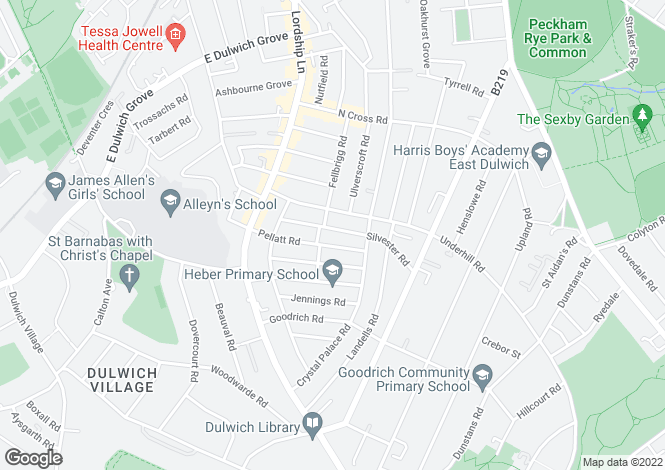 Map for Silvester Road East Dulwich SE22