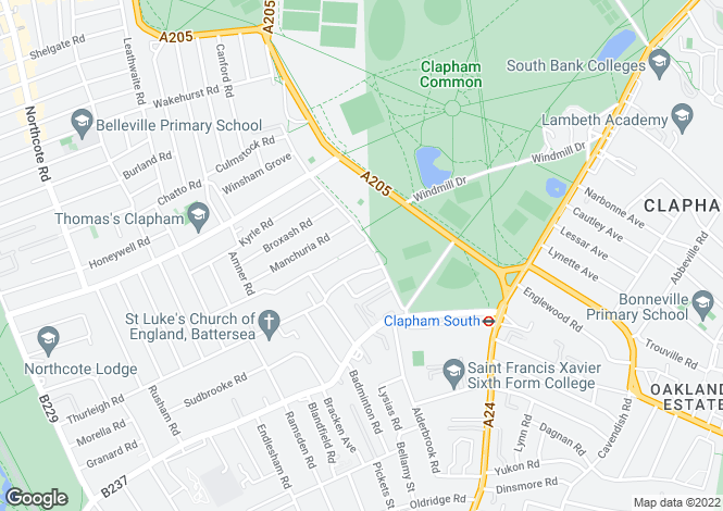 Map for Clapham Common West Side, Between The Commons