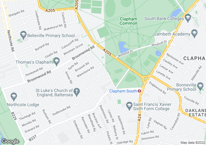 Map for Clapham Common West Side, Clapham, Clapham, London SW4 9AN