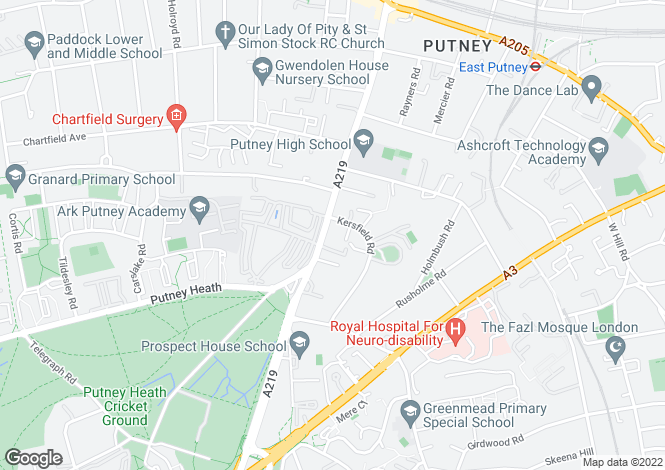 Map for Putney Hill, Putney, SW15