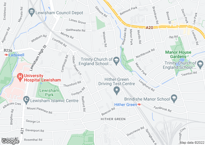 Map for Nightingale Grove, Hither Green
