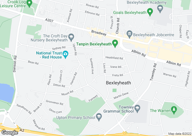 Map for Lewin Road, Bexleyheath DA6