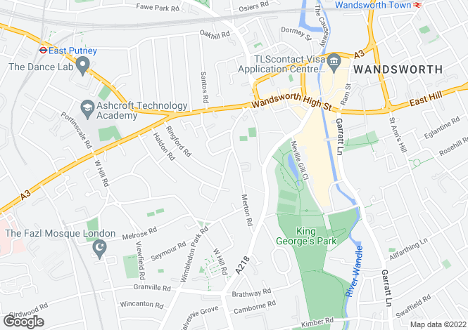 Map for Wandsworth, London, SW18