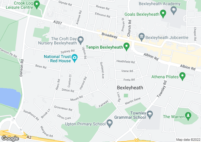 Map for Sunland Avenue, Bexleyheath DA6
