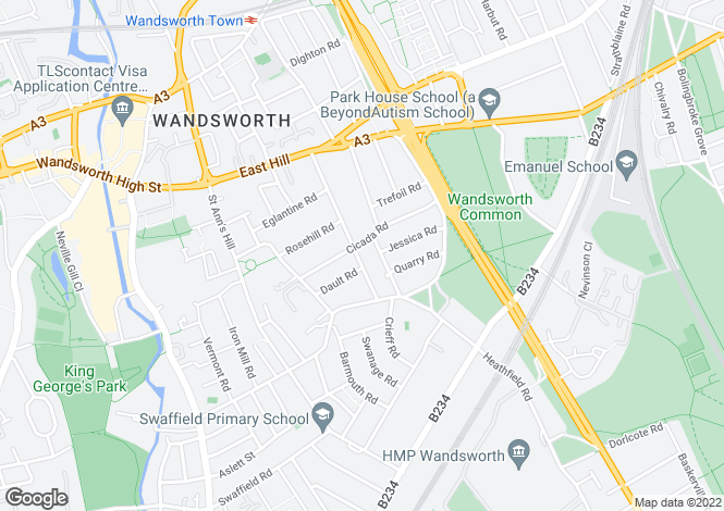 Map for Geraldine Road, Wandsworth, London
