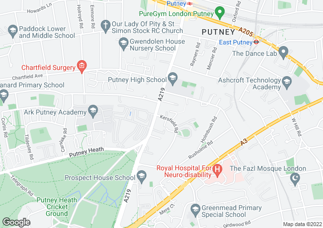 Map for Putney Hill, London