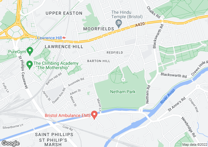 Map for Avonvale Road, Redfield, BRISTOL