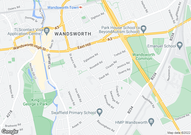 Map for Rosehill Road, Wandsworth