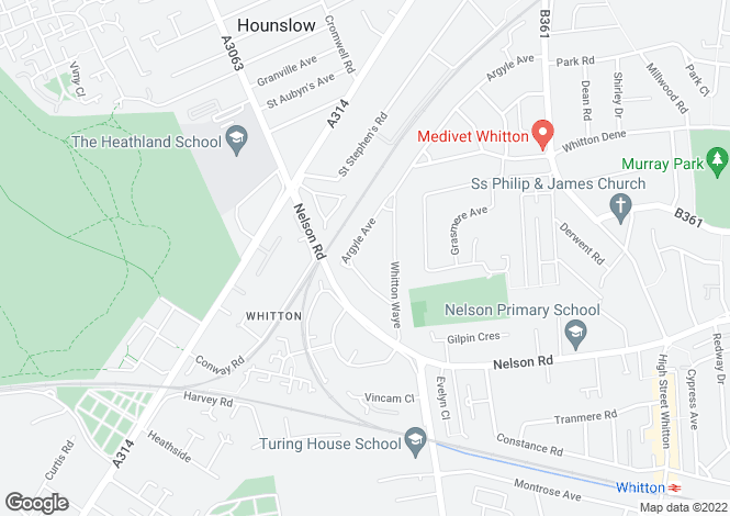 Map for Argyle Avenue, Whitton, Greater London