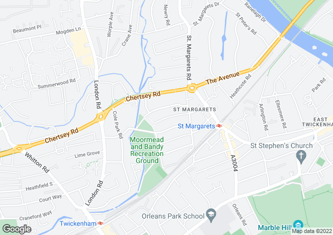 Map for South Western Road, St Margarets, Middlesex