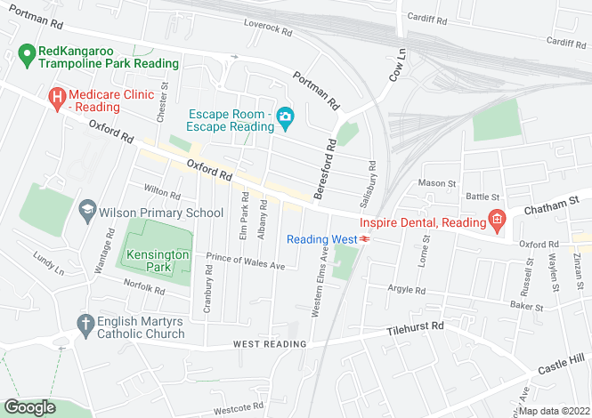 Map for Oxford Road, West Reading