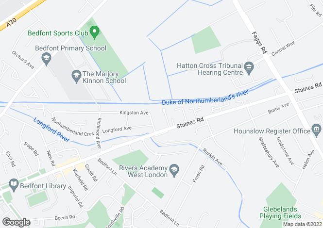 Map for Whitebridge Close, Bedfont, TW14