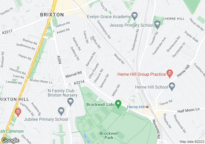 Map for Chaucer Road, Herne Hill, London SE24
