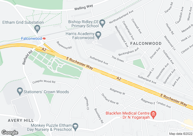 Map for East Rochester Way, Sidcup DA15