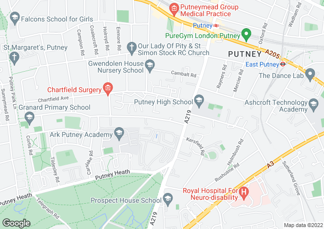 Map for Westleigh Avenue, Putney