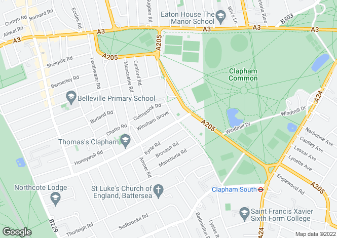 Map for Clapham Common West Side, London, SW4
