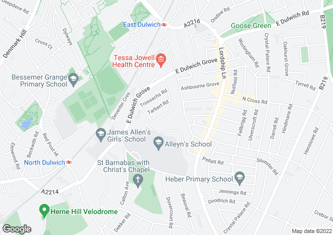 Map for Glengarry Road, East Dulwich, SE22