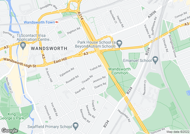 Map for Trefoil Road, Wandsworth, London, SW18