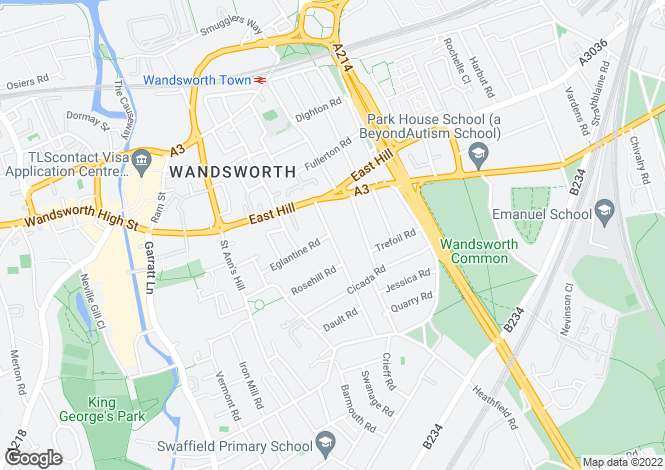 Map for Geraldine Road, Wandsworth Town, London