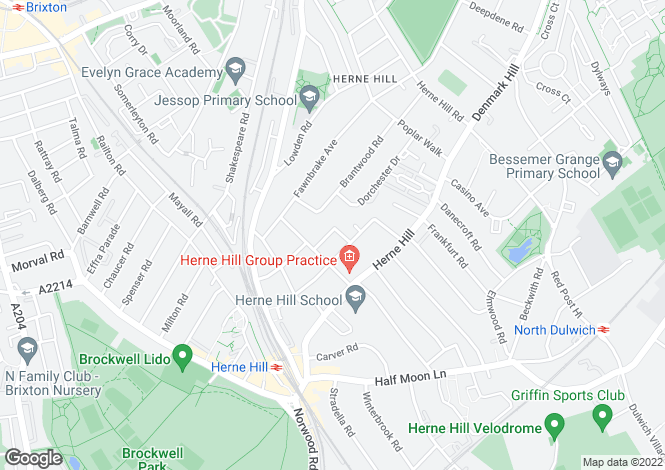 Map for Cosbycote Avenue, Herne Hill