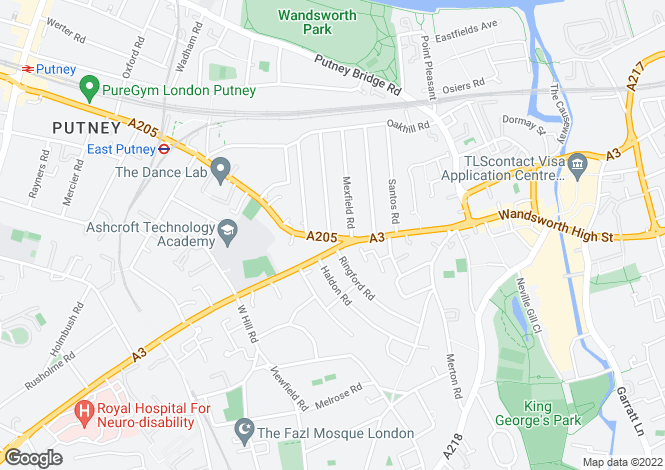 Map for Aspire Building, Upper Richmond Road, Putney, London, SW15