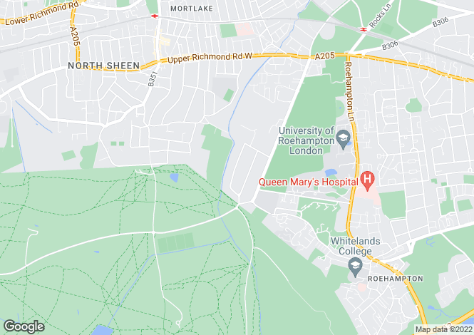 Map for Roedean Crescent, Roehampton, SW15
