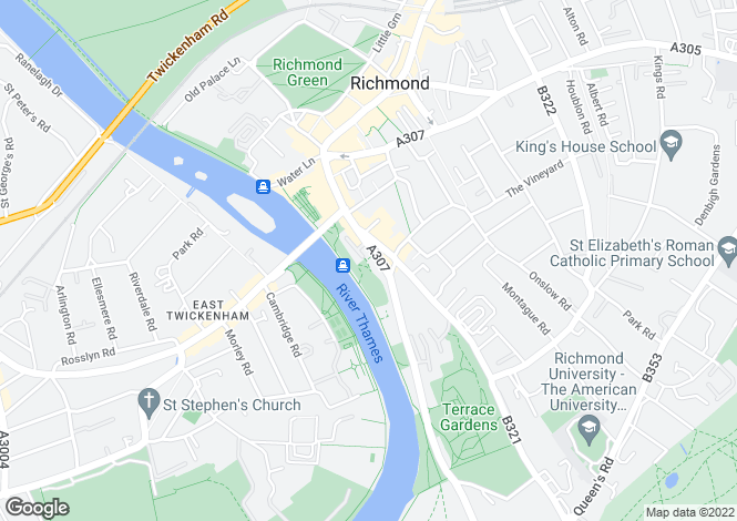 Map for Petersham Road, Richmond, Surrey, TW10