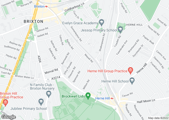 Map for Railton Road, Herne Hill, London, SE24