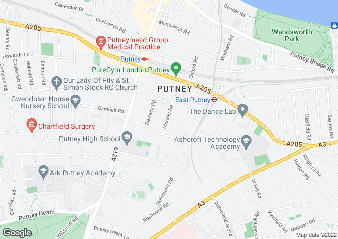 Map for Mercier Road, Putney