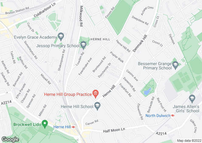 Map for Dorchester Drive,Herne Hill London