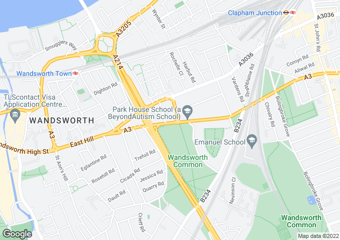 Map for North Side, Wandsworth Common, London, SW18