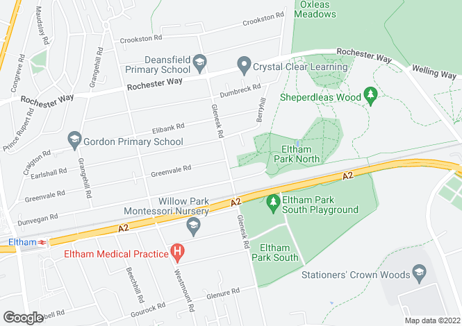Map for Glenesk Road, Eltham