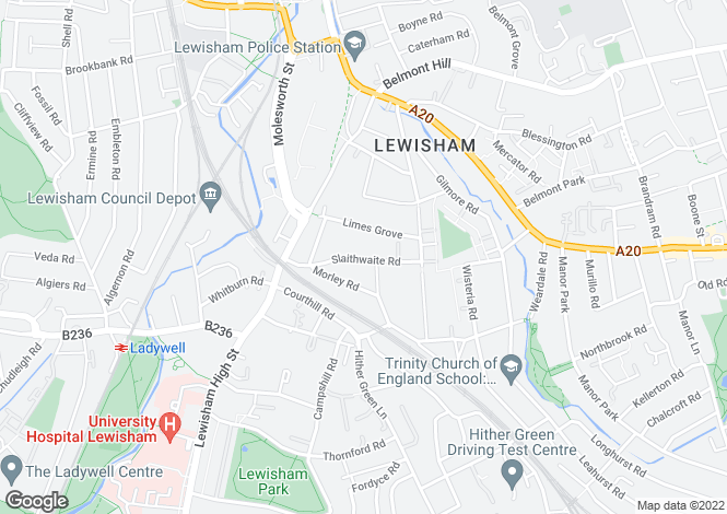Map for Slaithwaite Road, Lewisham, London, SE13