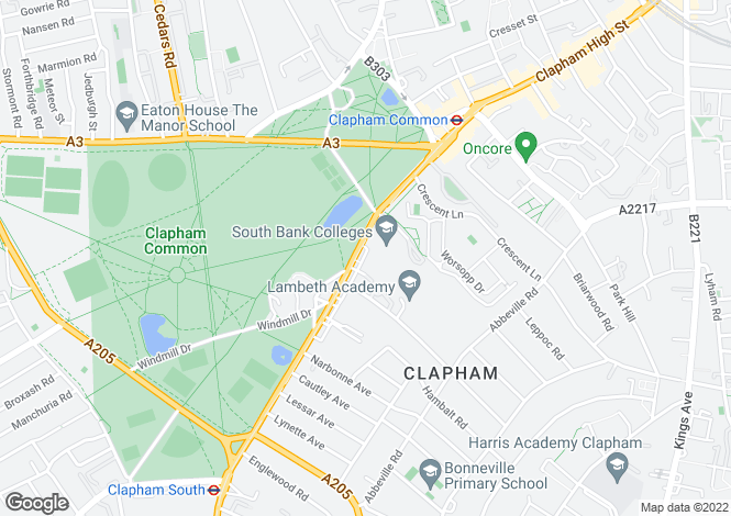 Map for Clapham Common Southside, Clapham, London SW4 9BX