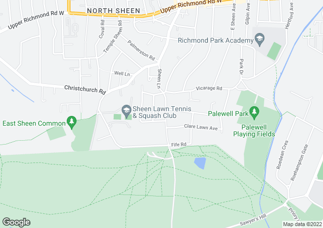 Map for Sheen Lane, East Sheen, SW14